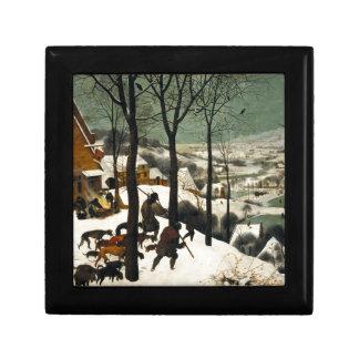 Cazadores en la nieve de Pieter Bruegel la anciano Joyero Cuadrado Pequeño