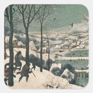 Cazadores en la nieve - enero de 1565 calcomania cuadradas personalizadas