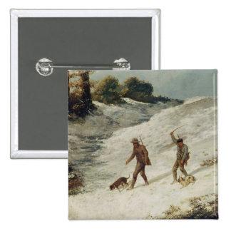 Cazadores en la nieve o los cazadores furtivos pin cuadrada 5 cm