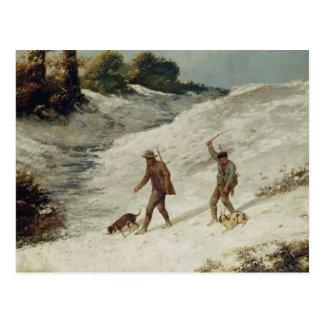 Cazadores en la nieve o los cazadores furtivos postales
