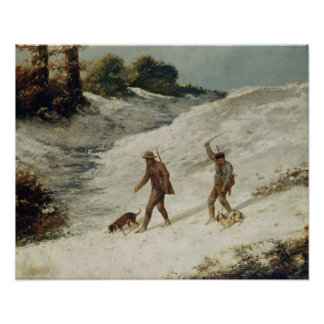 Cazadores en la nieve o los cazadores furtivos póster