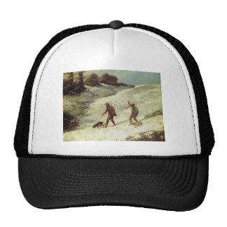Cazadores furtivos de Gustavo Courbet- en la nieve Gorro