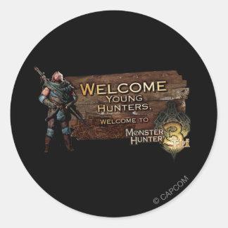 ¡Cazadores jovenes agradables, al cazador del Pegatina Redonda