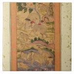 Cazadores que capturan elefantes, del Clive grande Azulejos