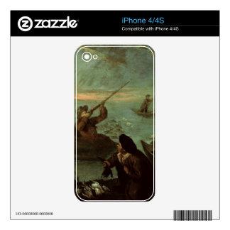 Cazadores que tiran en los patos (aceite en lona) iPhone 4S calcomanías