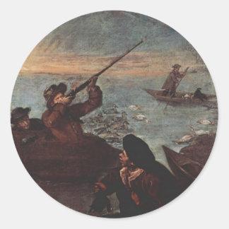 Cazadores que tiran en los patos de Pietro Longhi Pegatina Redonda