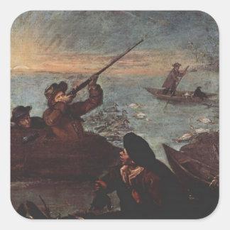 Cazadores que tiran en los patos de Pietro Longhi Calcomanía Cuadradas Personalizadas