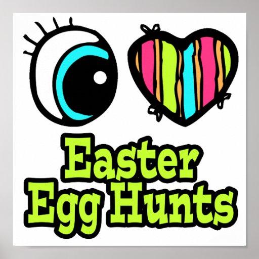Cazas brillantes del huevo de Pascua del amor del  Póster