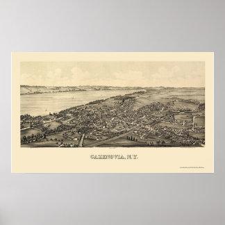 Cazenovia, mapa panorámico de NY - 1890 Posters