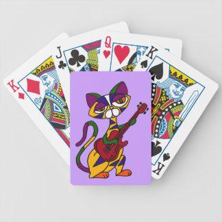 CB- Cool Cat Playing Guitar Cartoon Bicycle Playing Cards