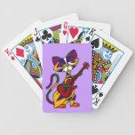 CB- Cool Cat Playing Guitar Cartoon Playing Cards