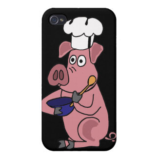 CB- Funny Pig Chef Cartoon iPhone 4 Case