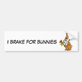 CB- I Brake for Bunnies Bumper Sticker