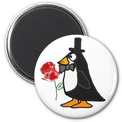 CB- Penguin and Rose Magnet