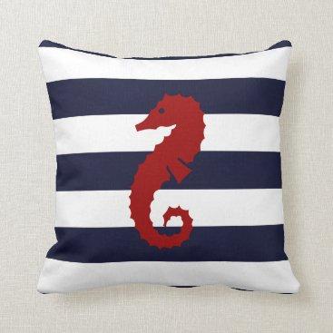 Beach Themed CBendel Nautical Blue Stripe Seahorse Whale Pillow
