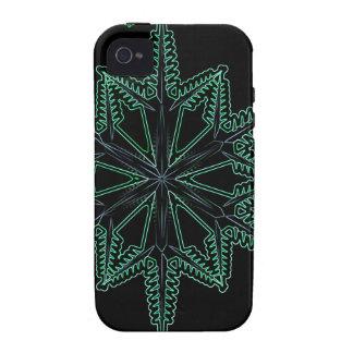 CBGNGWSF BLACK GREEN NEON GLOW WINTER SNOWFLAKE WI iPhone 4/4S CASES