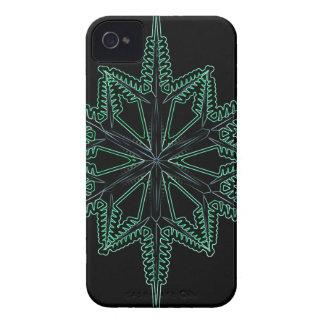 CBGNGWSF BLACK GREEN NEON GLOW WINTER SNOWFLAKE WI iPhone 4 COVER