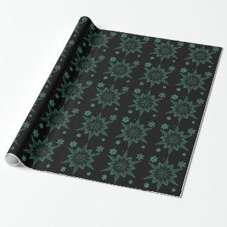 CBGNGWSF BLACK GREEN NEON GLOW WINTER SNOWFLAKE WI WRAPPING PAPER