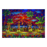 CBjork, poster enorme hawaiano de Hula Luau