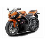 CBR 600 Orange-Black Bike Postcard