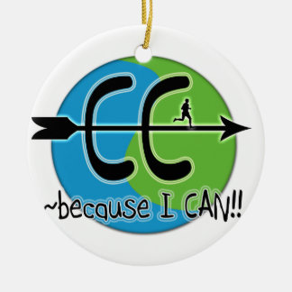 CC CROSS COUNTRY BECAUASE I CAN MOTTO ORNAMENT