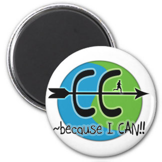 CC Cross Country - Because I CAN!! 2 Inch Round Magnet