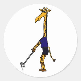CC- Giraffe Playing Golf Design Classic Round Sticker