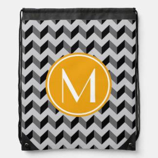CCB negro y gris del monograma amarillo de Chevron Mochilas