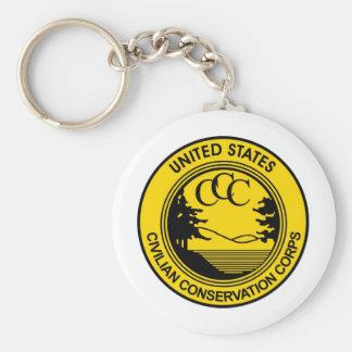 CCC Civilian Conservation Corps Commemorative Basic Round Button Keychain