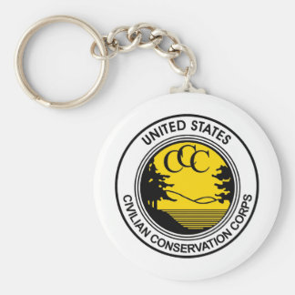 CCC Civilian Conservation Corps Tribute Basic Round Button Keychain