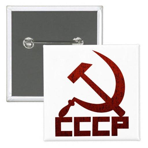 CCCP apenado con el martillo y la hoz Pin Cuadrado