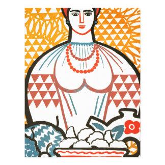 cccp sssr rusian art lady on the market with fruit letterhead