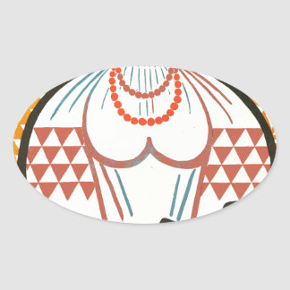 cccp sssr rusian art lady on the market with fruit oval sticker