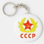 cccp ussr hammer and sickle emblem basic round button keychain