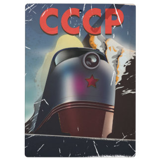 CCCP vintage Soviet Locomotive Poster Clipboard