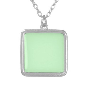Professional Business #CCFFCC Hex Code Web Color Light Mint Green Silver Plated Necklace