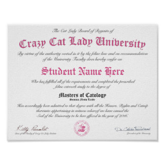 CCLU Diploma - Pink Seal - Kittens in a Basket Poster
