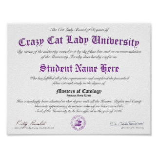 CCLU Diploma - Purple Seal -Kittens in a Basket Poster