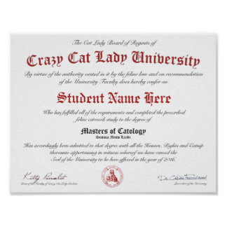 CCLU Diploma - Red Seal -Momma Cat & Kitten Poster
