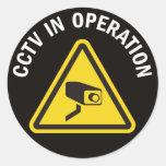 CCTV EN FUNCIONAMIENTO PEGATINAS REDONDAS