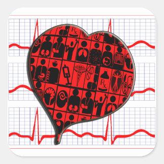 CCU HEART EKG MEDICAL SPECIALTIES SQUARE STICKER