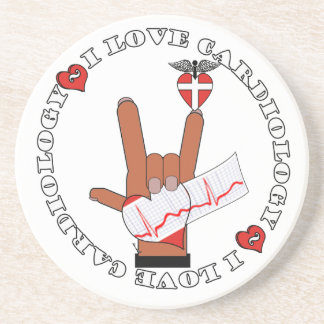 CCU - I LOVE CARDIOLOGY - ASL HAND SIGN DRINK COASTER