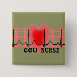 CCU Nurse Gift Ekg paper and Heart Design Button