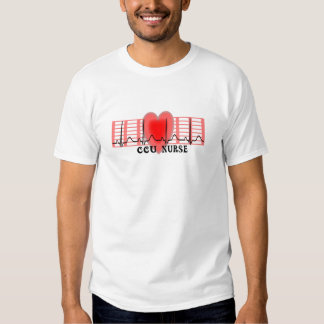 CCU Nurse Gift Ekg paper and Heart Design Tee Shirt