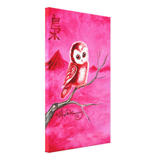 cCute Little Thoughtful Owl Canvas Print