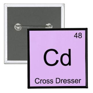 Cd - camiseta cruzada del símbolo del elemento de  pin cuadrado
