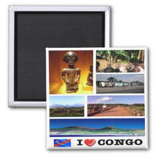 CD - Democratic Republic of the Congo -  I LOVE 2 Inch Square Magnet