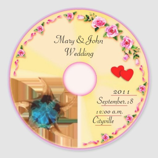 Wedding Gift Tags And Labels : CD Label Wedding Favor Tag Classic Round Sticker Zazzle