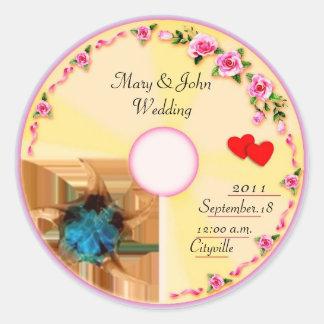 CD Label Wedding Favor Tag Classic Round Sticker