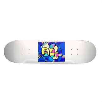 CD record image against blue stained glass back Skateboard Deck